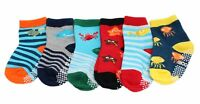 6-pack Baby Kids Boys Cotton Rich Non-slip Sea Creature Striped Socks Gift Set