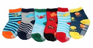 6-pack Baby Kids Boys Cotton Rich Non-slip Sea Creature Striped Socks Gift Set