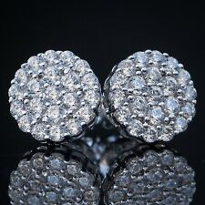 Mens White Gold 925 Sterling Silver Hip Hop Round Cluster Circle Stud Earrings