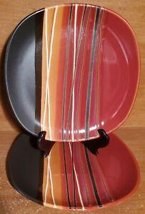 "Home Trends BAZAAR RED Salad plate set of 2, 8 5/8"", Stripes, Square, Excellent"