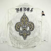 Rebel Spirit XXL Long Sleeve Button Up Shirt Studded Embroidered Flip Cuff
