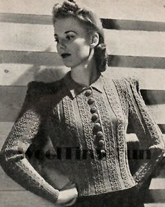 """Knitting Pattern Vintage 1940s WW2 Cable Jumper.Long/Short Sleeves. 34-38"""" Bust."""