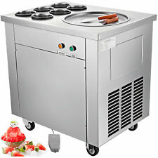 Fried Ice Cream Maker Ice Cream Machine w/ Single Pot 6 Buckets Commercial 740W