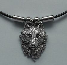 Choker #193 Pewter WOLF HEAD (30mm x 25mm) Rubber Necklace SPIRITUAL HARMONY