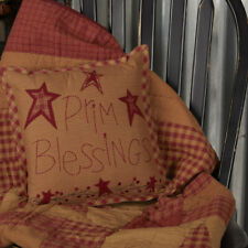"""Country Ninepatch Star Prim Blessings Pillow 12"""" x 12""""  by VHC"""