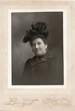 c1890 Seattle, Wa Lady in Feathers and Bows Hat Cabinet Card Photograph