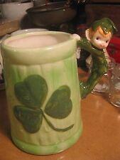 Vintage Green Ceramic Pixie Elf Beer Mug Cup Shamrock St. Patrick's Day