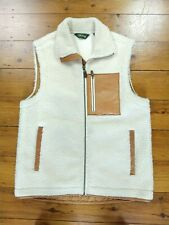 Mens ORVIS Cream Shearling Real Leather Patch Gilet Bodywarmer Size Medium
