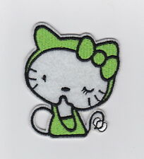 SANRIO GREEN HELLO KITTY  Fabric Embroidered Iron/Sew On Patch