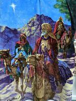 "Gauthier 3 WISE MEN THREE KINGS Christmas Plush Blanket Northwest Co 49""x59"""