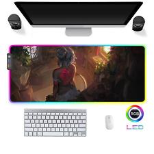 LED Gaming Mauspad Anime Cartoon Girl RGB XXL Groß Mausunterlage PC Mat Mousepad
