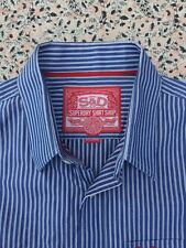 SUPERDRY - Slate Blue - White Striped - Button Cuff - Shirt - XXL