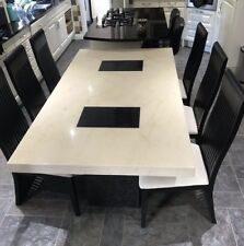 Stunning Cream And Black Marble Dining Table And 6 Chairs VIENNA
