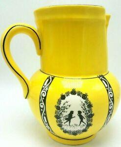 Antique Czechosovakia Victorian Silhouette Ceramic Pitcher Pitcher Yellow WOW!