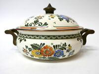 "ASTA Enamelware Covered Pot Enamel White & Floral Dutch Oven Germany 8.5"""