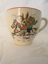 """Vintage Cup """"at the fair"""" 2 rabbits on a carousel horse"""
