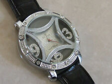 ICE STAR Brand New Diamante Numbers, Leather Strap Overersize Unisex Wrist-Watch