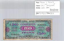 "BILLET FRANCE (TRÉSOR) - 50 FRANCS ""DRAPEAU"" - JUIN 1944"