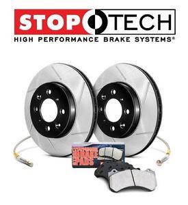 For Honda Civic Hatchback Rear Slotted Brake Rotors+Pads KIT StopTech