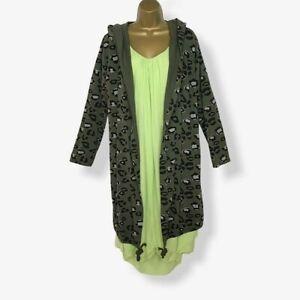 NEU mit Kapuze Grün Parka Jacke leichte Frauen Italienische Größe UK 12 14 16 18