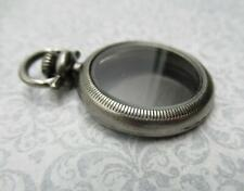 Small Silver Pocket Watch Locket - 1 inch Fillable Case & Glass Pendant - Qty 1