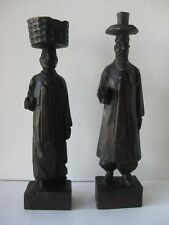 RARE Handcarved Wooden Statues Korean Couple Traditional Clothing Hanbok 6 3/8""