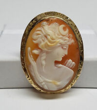 10K Yellow Gold Carved Shell Lady Cameo Brooch Pin Pendant - NOS w/Tags