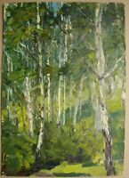 Russian Ukrainian Soviet Oil Painting Impressionism forest birch trees