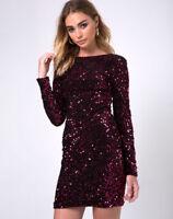 MOTEL ROCKS Gabby Plunge Back Dress in Wine Sequin M Medium (mr99)