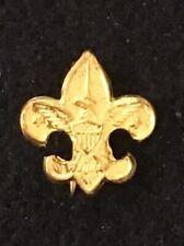 VINTAGE GOLD PLATE MINI FLEUR DE LIS BOY SCOUT PIN W/ EAGLE BOY SCOUT SYMBOL