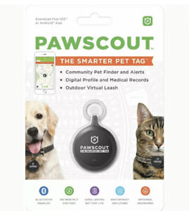 Pawscout The Smarter Pet Tag Community Pet Finder & Alerts Bluetooth Black NEW