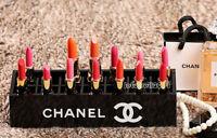 CHANEL Vanity Lipstick Holder Organizer VIP Gift Black Acrylic w/ Chanel Logo