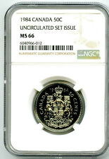 1984 CANADA 50 CENT NGC MS66 HALF DOLLAR UNCIRCULATED SET ISSUE POP ONLY 1