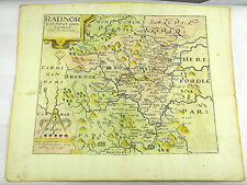 RADNORSHIRE WALES ENGLAND COPPER KUPFERSTICHKARTE MAP SAXTON KIP 1607 #D965S