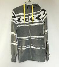 Volcom Women's Sweater Fleece Zip Up Hoodie Sparrow Gray White Size XS NEW