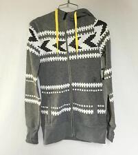 Volcom Women's Sweater Fleece Zip Up Hoodie Sparrow Gray White Size XS NEW