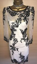 Exquisite Karen Millen White Black Mesh Embroidered Dress UK12 Stunning