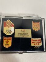 1988 Anheuser Busch USA OLYMPIC Commemorative Pin Set Seoul South Korea Calgary
