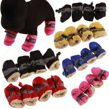 Winter Small Dog Plush Boots Booties Snow Protective Pet Shoes Anti-Slip Set #
