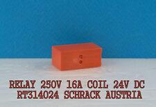 1PCS  RELAY 16A 250V AC   24V DC COIL RT314024  SCHRACK  AUSTRIA  PCB