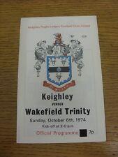 06/10/1974 programma Rugby League: keighley V Wakefield Trinity. condizione: abbiamo
