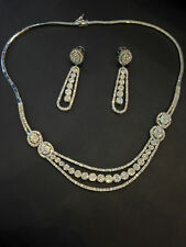 Pave 9.37 Cts Round Brilliant Cut Diamonds Necklace Earrings Set In 14Carat Gold