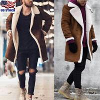 Winter Men's Fleece Lining Coat Suede Thick Warm Outwear Biker Jacket Peacoat US