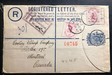 1905 Blenheim New Zealand Registered Letter cover To Montreal Canada