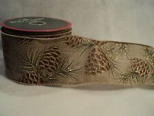 """KSA """"DOUBLE WIRE  PINECONE PRINT RIBBON"""" ~ Great For Decorating ~ NEW~ BEAUTIFUL"""