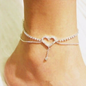 Diamante Rhinestone Anklet Heart Star Bling Fashion Diamond Ankle Chain Bracelet