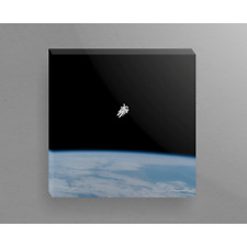 American Astronaut Untethered Spacewalk Above Earth 16x16 Canvas Wrap Wood Frame