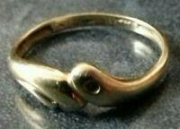 SCHLANGEN RING 14 Karat GOLD 585/f. DIAMANT ca. 1,5 gr. RW ~56,5 MODERNES DESIGN