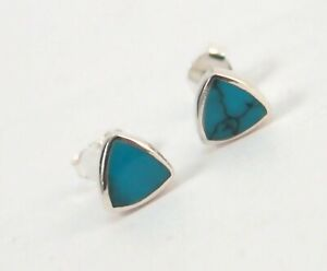 Sterling Silver Stud Earrings Blue Turquoise Triangle