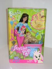 2002 Stylin Pup Brunette Barbie w/ Pet Dog Ginger Tail Wags NRFB MIB Sealed Box